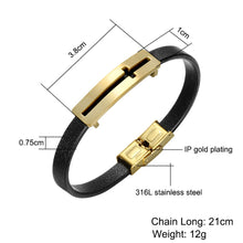 Load image into Gallery viewer, GUNGNEER Leather Stainless Steel Cross Bracelet Christian Jewelry Accessory For Men Women