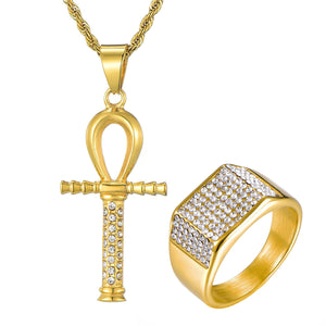 GUNGNEER Egypt Key Life Ankh Cross Pendant Necklace Geometric Ring Stainless Steel Jewelry Set