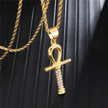 Load image into Gallery viewer, GUNGNEER Egypt Key Life Ankh Cross Pendant Necklace Geometric Ring Stainless Steel Jewelry Set