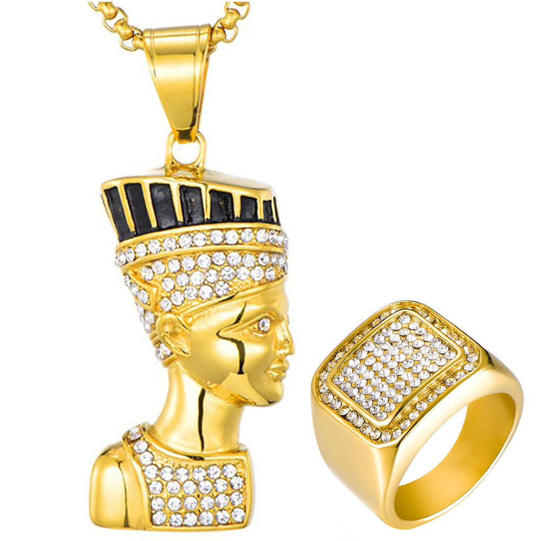 GUNGNEER Egyptian Cleopatra Stainless Steel Pharaoh Crystal Necklace Geometric Ring Jewelry Set