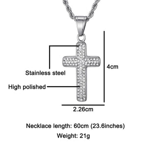 GUNGNEER God Cross Necklace Stainless Steel Christ Pendant Jewelry Outfit For Men Women