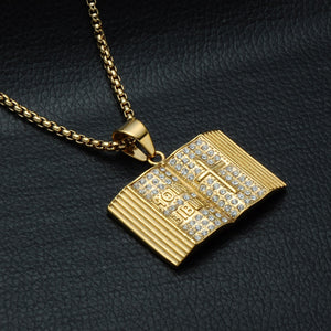 GUNGNEER God Cross Bible Necklace Christian Pendant Chain Jewelry Accessory For Men Women