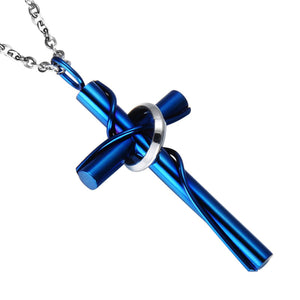 GUNGNEER Cross Necklace Stainless Steel Christian Pendant Jewelry Outfit For Men Women