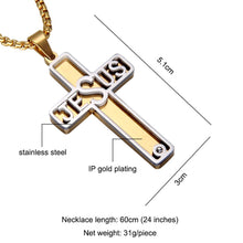 Load image into Gallery viewer, GUNGNEER Stainless Steel Jesus Cross Necklace God Christ Pendant Jewelry For Men Women