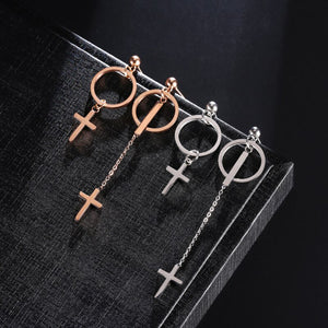 GUNGNEER Stainless Steel Christ Cross Earrings Jesus God Jewelry Accessory Gift For Women