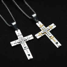 Load image into Gallery viewer, GUNGNEER Jesus Cross Pendant Necklace Stainless Steel Christian Jewelry For Men Women