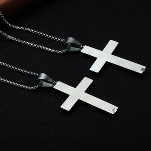 GUNGNEER Jesus Cross Pendant Necklace Stainless Steel Christian Jewelry For Men Women