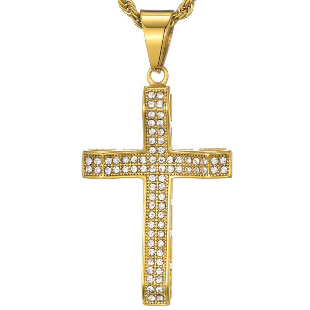 GUNGNEER Stainless Steel God Cross Pendant Necklace Jesus Jewelry Outfit For Men Women