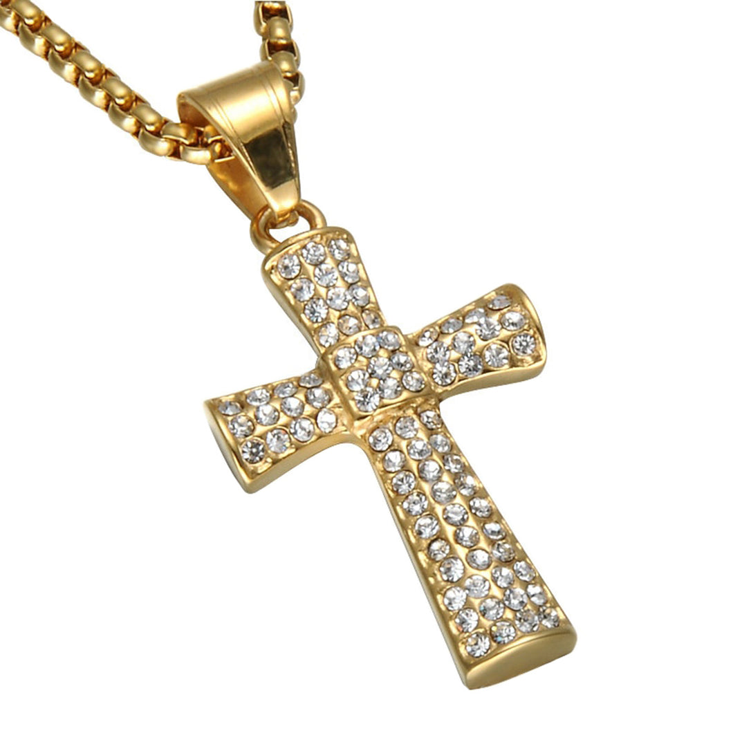 GUNGNEER Cross Necklaec Stainless Steel God Christ Jewelry Accessory Gift For Men Women