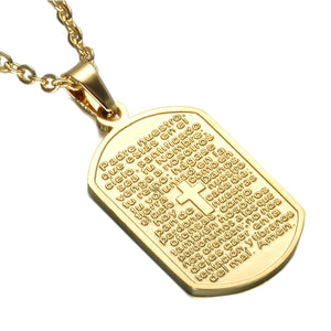 GUNGNEER Christian Cross Bible Dog Tag Necklace Jesus Accessory Jewelry For Men Women