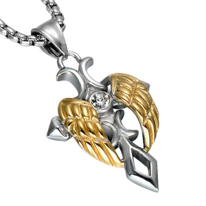 GUNGNEER Cross Necklace God Christ Wing Pendant Stainless Steel Jewelry For Men Women