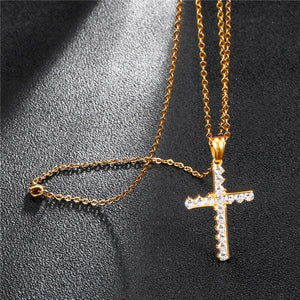 GUNGNEER Cross Necklace Jesus Pendant God Christ Jewelry Accessory Gift For Men Women