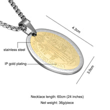 Load image into Gallery viewer, GUNGNEER Saint Benedict Medal Pendant Necklace with Ring Stainless Steel Jewelry Set Men Women