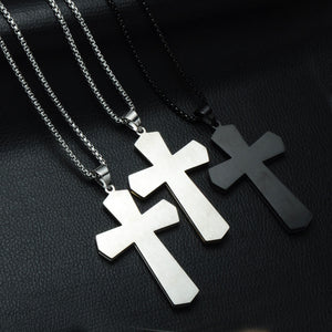 GUNGNEER Stainless Steel Cross Necklace God Christian Pendant Jewelry Accessory For Men Women