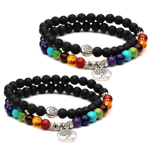 Load image into Gallery viewer, HoliStone Chakra & Lava Stone Beaded Lucky Charm Bracelet with Tree of Life ? Anxiety Stress Diffuser Balancing Healing Yoga Bracelet
