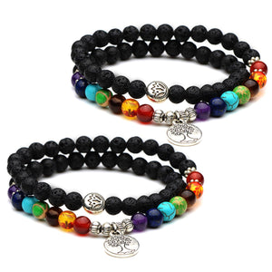 HoliStone Chakra & Lava Stone Beaded Lucky Charm Bracelet with Tree of Life ? Anxiety Stress Diffuser Balancing Healing Yoga Bracelet