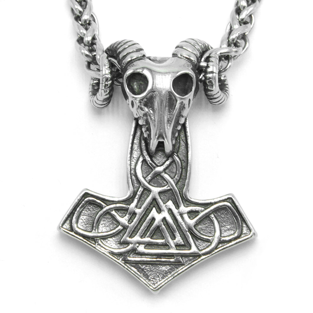 ENXICO Ram Skull Thor's Hammer Pendant with Valknut Symbol Necklace ? Stainless Steel ? Nordic Scandinavian Authentic Viking Jewelry (27.6)