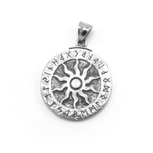 Load image into Gallery viewer, ENXICO Runic Sun with Rune Circle Pendant Necklace ? 316L Stainless Steel ? Nordic Scandinavian Symbol Jewelry