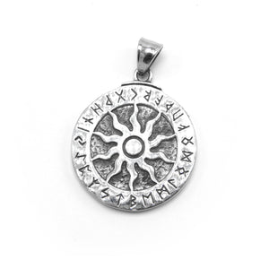 ENXICO Runic Sun with Rune Circle Pendant Necklace ? 316L Stainless Steel ? Nordic Scandinavian Symbol Jewelry