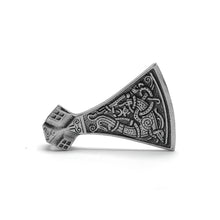 Load image into Gallery viewer, ENXICO Viking Mammen Axe Head with Jormungandr Serpent Pattern Pendant Necklace ? 316L Stainless Steel ? Nordic Scandinavian Viking Jewelry