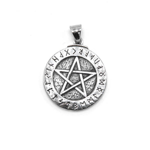 ENXICO Runic Pentagram with Rune Circle Pendant Necklace ? 316L Stainless Steel ? Nordic Scandinavian Wiccan Jewelry