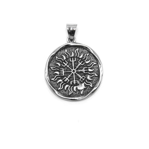 ENXICO Vegvisir The Viking Runic Compass with Sun Rays Pattern Pendant Necklace ? 316L Stainless Steel ? Nordic Scandinavian Pagan Jewelry