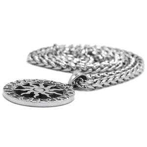 ENXICO Viking Sun with Rune Circle Pendant Necklace ? 316L Stainless Steel ? Nordic Scandinavian Symbol Jewelry