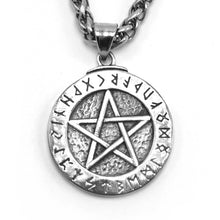 Load image into Gallery viewer, ENXICO Runic Pentagram with Rune Circle Pendant Necklace ? 316L Stainless Steel ? Nordic Scandinavian Wiccan Jewelry