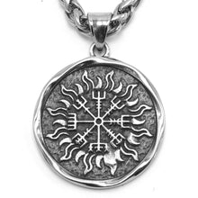 Load image into Gallery viewer, ENXICO Vegvisir The Viking Runic Compass with Sun Rays Pattern Pendant Necklace ? 316L Stainless Steel ? Nordic Scandinavian Pagan Jewelry