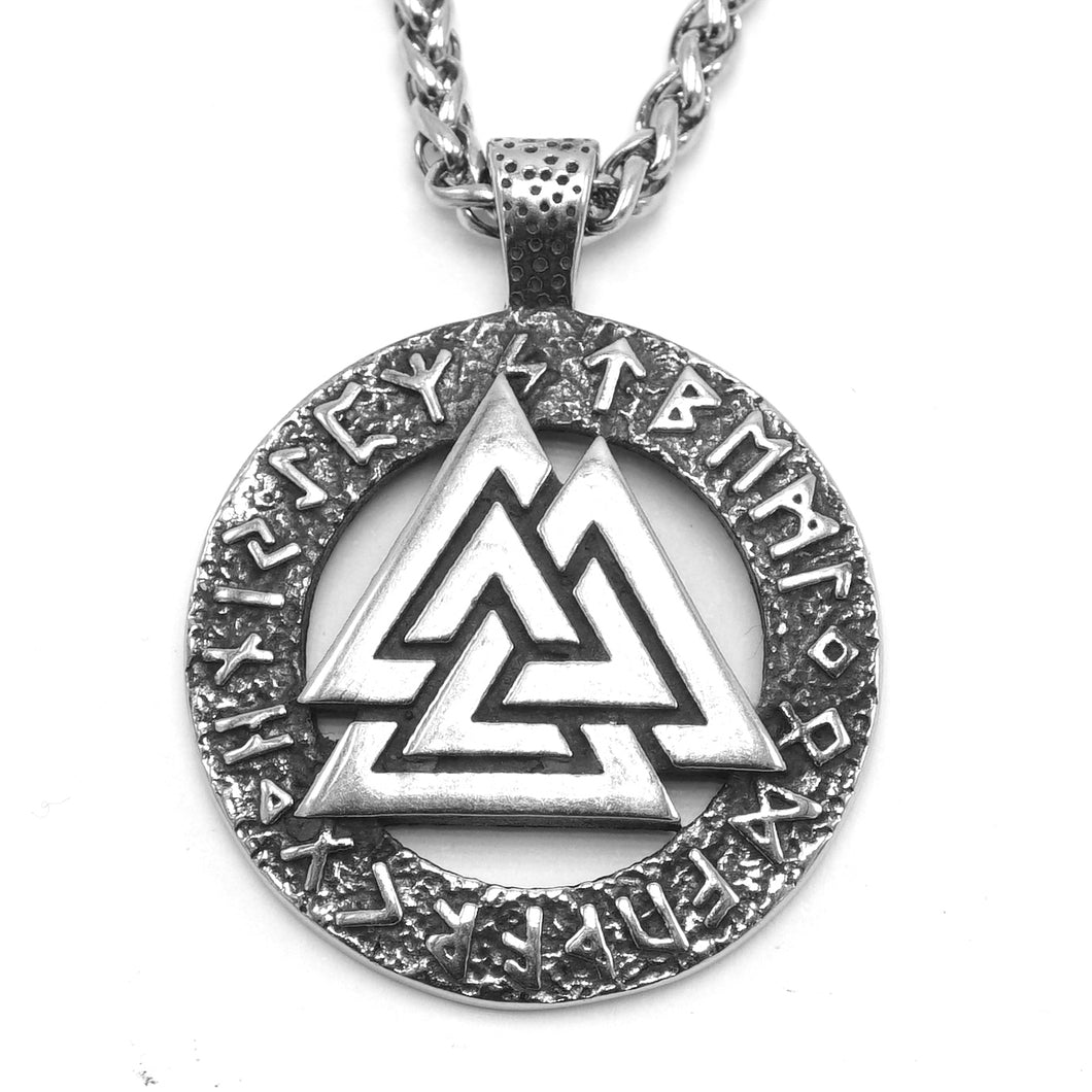 ENXICO Valknut The Symbol of Odin with Rune Circle Pendant Necklace ? 316L Stainless Steel ? Nordic Scandinavian Viking Jewelry