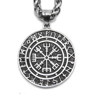ENXICO Vegvisir The Runic Compass with Rune Circle Pendant Necklace ? 316L Stainless Steel ? Nordic Scandinavian Viking Symbol Jewelry