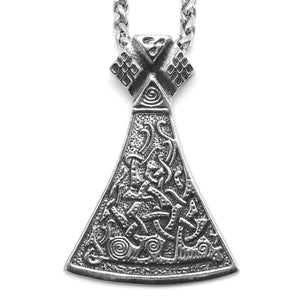 ENXICO Viking Mammen Axe Head with Jormungandr Serpent Pattern Pendant Necklace ? 316L Stainless Steel ? Nordic Scandinavian Viking Jewelry