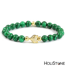Load image into Gallery viewer, HoliStone Malachite Stone Fox Head Beaded Lucky Charm Bracelet for Women and Men ? Anxiety Stress Relief Yoga Meditation Energy Balancing Lucky Charm Bracelet