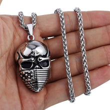 Load image into Gallery viewer, GUNGNEER Stainless Steel Skull US America Flag Mask Necklace Pendant Jewelry Men Women