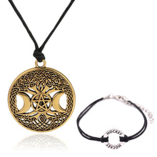 Load image into Gallery viewer, GUNGNEER Wicca Pentacle Moon Tree of Life Necklace Black Wax Cord Bracelet Amulet Jewelry Set