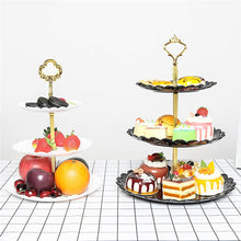 Load image into Gallery viewer, 2TRIDENTS Dessert Display Stand Large/Small 3 Layers Fruit Cupcake Snacks Dessert Decoration (L, Black)