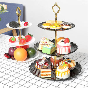 2TRIDENTS Dessert Display Stand Large/Small 3 Layers Fruit Cupcake Snacks Dessert Decoration (L, Black)
