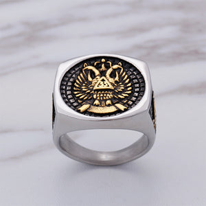 GUNGNEER Silver Scottish Rite Eagle Masonic Ring Freemasonry Signet Item Aceesory For Men
