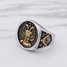 Load image into Gallery viewer, GUNGNEER Silver Scottish Rite Eagle Masonic Ring Freemasonry Signet Item Aceesory For Men