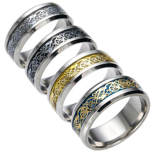GUNGNEER Stainless Steel Celtic Knot Dragon Band Ring Jewelry Accessories for Men Women