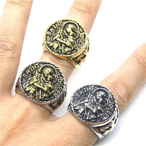 GUNGNEER Patron St Joseph Ring Jewelry Stainless Steel Many Sizes Accessory For Men