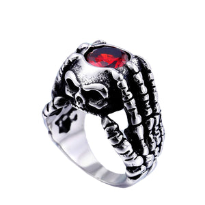 GUNGNEER Stainless Steel Gothic Claw Pirate Skull Skeleton Pendant Ring Men Women Jewelry Set