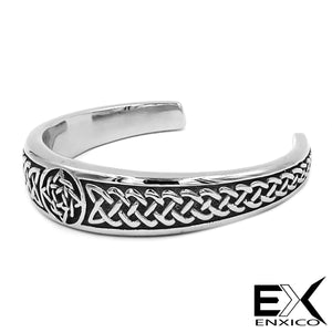 ENXICO Adjustable Celtic Knot Pattern Bangle Bracelet ? 316L Stainless Steel ? Irish Celtic Jewelry