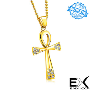 ENXICO Ankh Cross Ancient Egyptian Life Symbol Pendant Necklace ? 316L Stainless Steel ? Ancient Egyptian Hieroglyphic Jewelry (Black)