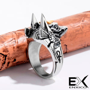 ENXICO Anubis The Ancient Egyptian God of Dead Ring ? 316L Stainless Steel ? Ancient Egyptian God Jewelry (10)