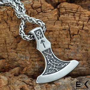 ENXICO Axe of Perum Charm Pendant Necklace ? 316L Stainless Steel ? Nordic Scandinavian Viking Jewelry