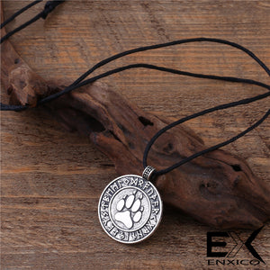 ENXICO Bear Paw Pendant Necklace with Rune Circle Surrounding ? Bronze Color ? Norse Scandinavia Viking Jewelry