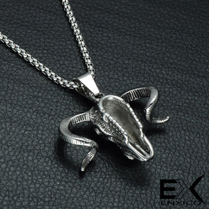 ENXICO Big Goat Ram Skull Pendant Necklace ? 316L Stainless Steel ? Paganic Symbol Jewelry