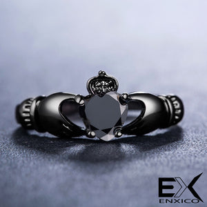 ENXICO Black Caddagh Heart Ring for Women ? 316L Stainless Steel ? Irish Celtic Jewelry (Black, 10)