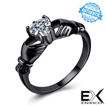 Load image into Gallery viewer, ENXICO Black Caddagh Heart Ring for Women ? 316L Stainless Steel ? Irish Celtic Jewelry (Black, 10)